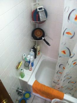 Her shower also serves as a dishwashing and drying area.