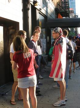 6:30 am outside Nevada Smiths Bar, New York.  US fans ready to watch World Cup