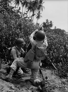Soldier and Mortar. Panama, 1952