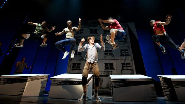 "Reeve Carney as Peter Parker and ensemble rehearsing ""Bullying By Numbers"" in 'Spider-Man: Turn Off the Dark."""