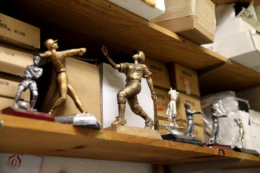 Sports figurines at Trophy World.