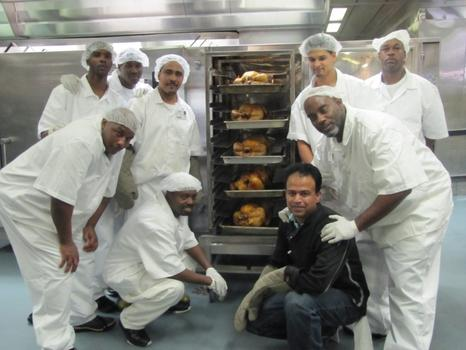 The cooks with the turkeys at Rikers Island, Thanksgiving 2010