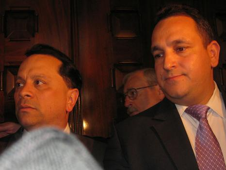 Senators Pedro Espada and Hiram Monseratte speak to reporters.