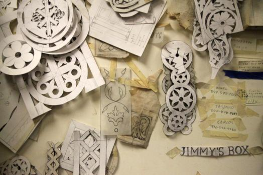 Stencils for outlining Byzantine-style designs on wood.