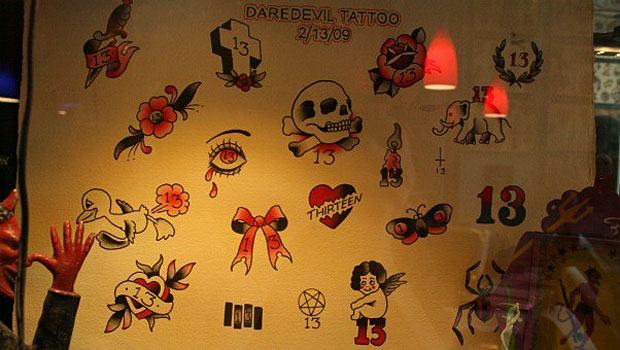 Daredevil's selection of Friday the 13th tattoos from 2009
