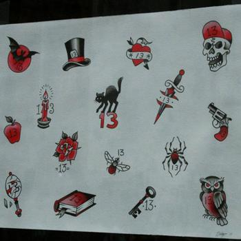 This year's Friday the 13th tattoo selections. These classic designs were not revealed until noon today.