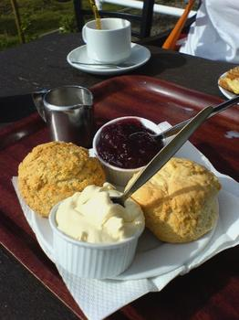 For those who continue to celebrate into the afternoon, a cream team--tea with scones, clotted cream and jam.