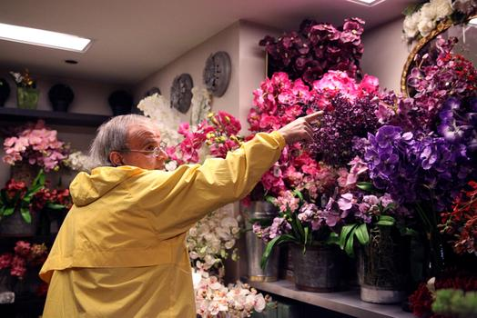 Richard Salome, a fellow florist, says Pany has the best quality silk flowers, but it's also the most expensive in the flower district.