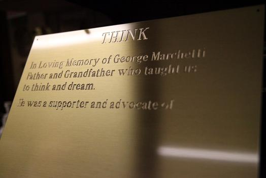 A plaque in progress at Trophy World.