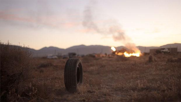 """A still from """"Rubber,"""" directed by Quentin Dupieux. The campy French film is the story of a tire that comes to life and begins terrorizing people in a midwestern town."""