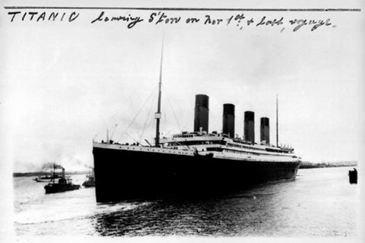 The RMS 'Titanic,' leaving Southampton, England on its maiden voyage to New York City.