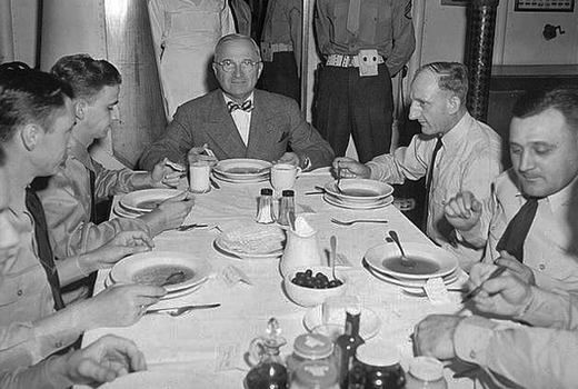 President Truman in USS Augusta mess, July 1945.