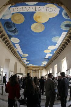A picture taken on March 23, 2010 in Paris, shows a painted ceiling, an immense work by American painter Cy Twombly at the Salle des Bronzes, one of the oldest sections of the Louvre museum.
