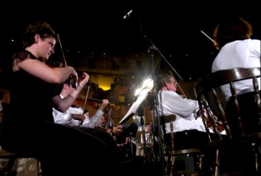 The Vienna State Opera orchestra performs during the El-Jem International Festival of Symphonic Music.