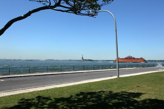 The proposed 2.2-mile-long waterfront promenade will look out at the Statue of Liberty and downtown Manhattan.