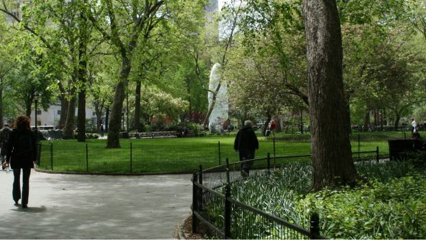 """Echo"" can be seen easily from outside the park. The color and size distinguish it from the Spring greenery around it."