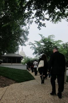 The group walks to Capitol Hill to meet with various congress members.