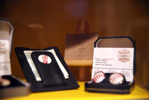 Wallets made out of game-use MLB balls at Bergino Baseball Clubhouse.