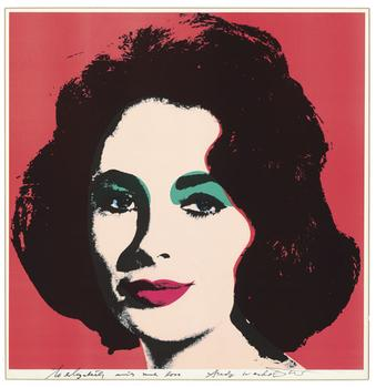 "Andy Warhol's ""Liz,"" a lithograph made in 1964 is expected to sell for between $30,000 and $50,000. Warhol signed the work, ""to elizabeth with much love."""
