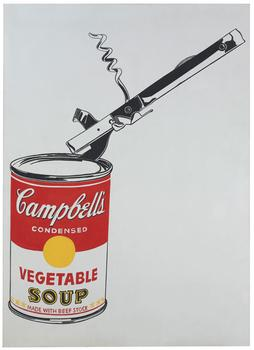 Andy Warhol's <em>Big Campbell's Soup Can with Can Opener (Vegetable)</em>, which was expected to sell for as much as $50 million at Christie's on Wednesday, only sold for $23.8 million.