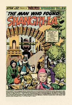 "A panel from Weird Wonder Tales ""The Man Who Fought Shangri-la."" Stan Lee wrote the comic, and Jack Kirby did the penciling."