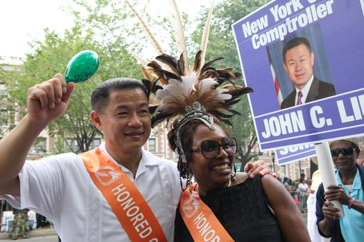 City Comptroller John Liu and Congresswoman Yvette Clarke marched in the annual West Indian Day Parade.