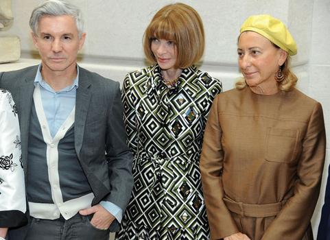 Earlier in the day, film director Baz Luhrmann, editor-in-chief of Vogue Anna Wintour and designer Miuccia Prada attended at preview for the exhibition.