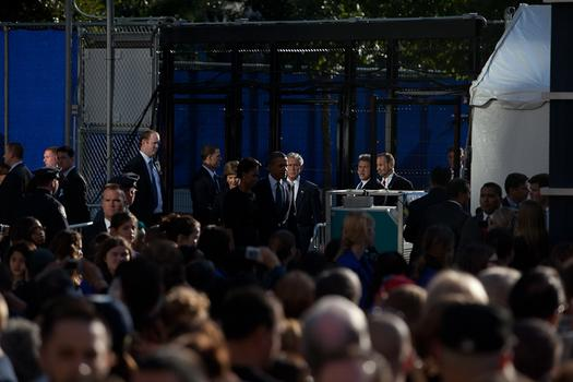 President Barack Obama attended the ceremony at the site of the World Trade Center