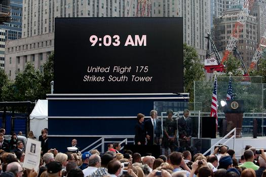 People gathered at the World Trade Center site to mark the 10th anniversary of the September 11 attacks