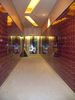 Washroom entrances designed in flusher time