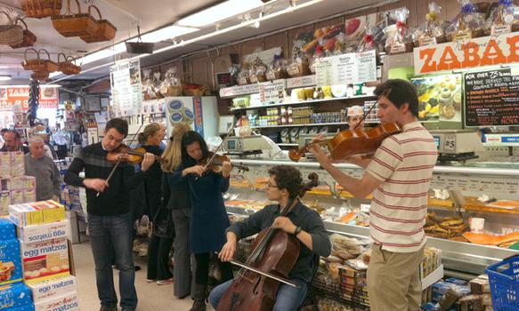 The Escher Quaret Plays in front of the Zabar's Fish Counter