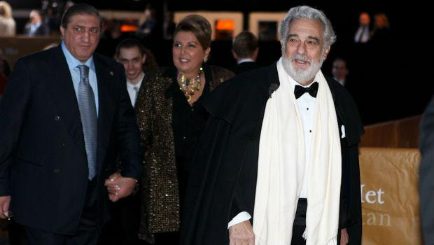 Placido Domingo arrives at the Metropolitan Opera on opening night