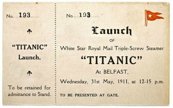 A rare ticket to the launch of the Titanic is on view now at Bonham's.