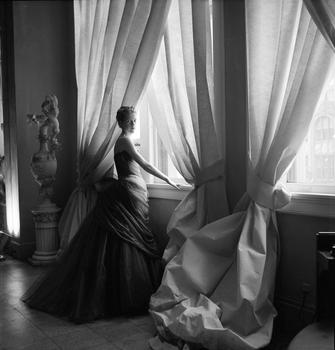 Nancy James in Charles James Swan Gown, 1955