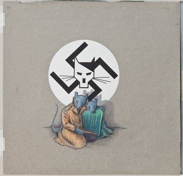 Art Spiegelman, cover art for Maus I, first edition, c. 1986, ink, color pencil, and pencil on paper.