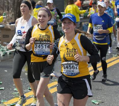 Two members of the Tufts marathon team.