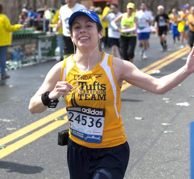 A member of the Tufts marathon team.