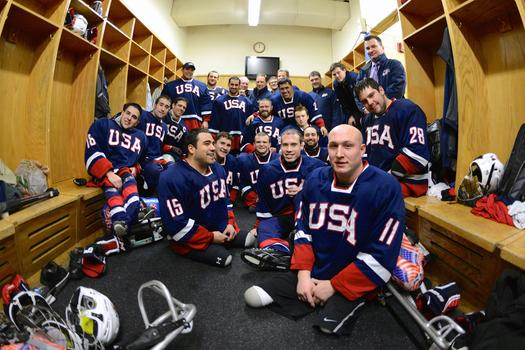 The 2014 U.S. Paralympic Sled Hockey Team.