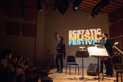 Saul Williams and Mivos Quartet perform at the Ecstatic Music Festival on February 26th, 2014