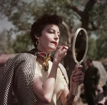 Ava Gardner on the set of The Barefoot Contessa, Tivoli, Italy, 1954