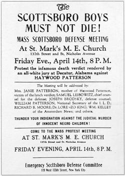 1931: A poster advertising a defence meeting for Haywood Patterson, one of the Scottsboro Boys, a group of African-American youths falsely accused of raping two white girls in Alabama.