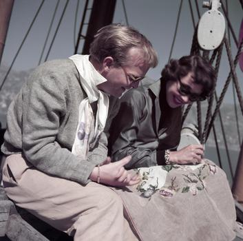 Truman Capote and Jennifer Jones on the set of Beat the Devil, Ravello, Italy, April 1953