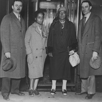 Scottsboro, Alabama, May 2, 1931. The mother of Haywood Patterson, Janie Patterson, is 2nd from right; Alan Taub (r) served as a defense attorney. He was interviewed for the above documentary.