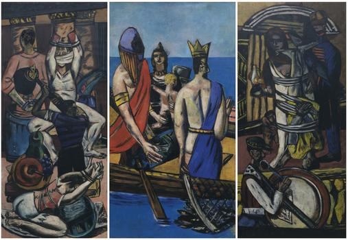 Max Beckmann (1884-1950.) Departure, Frankfurt 1932, Berlin 1933-35. Oil on canvas, 84 ¾ x 39 ¼ in. (215.3 x 99.7 cm). The Museum of Modern Art, New York. Given anonymously (by exchange)