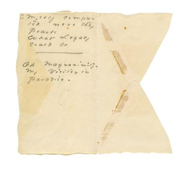 Poem written by Emily Dickinson on an envelope scrap.