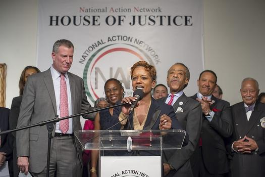 Mayor Bill de Blasio and First Lady Chirlane McCray at Al Sharpton's National Action Network