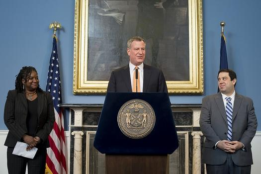 Mayor Bill de Blasio announces appointments of Stacey Cumberbatch (DCAS) and Jon Paul Lupo (City Legislative Affairs). Reporters then hurled questions about snow cleanup.