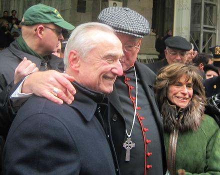 Bratton and wife Rikki Klieman stop to chat with Cardinal Edward Egan outiside St. Patrick's Cathedral along parade route.