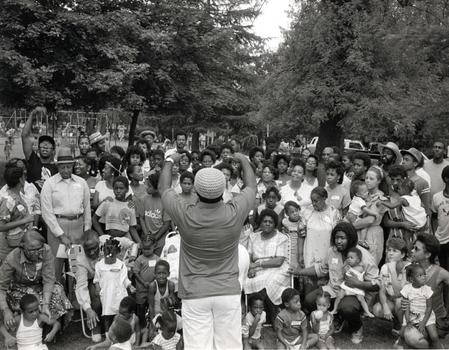 "This photo, titled ""Family Reunion,"" is from Weems' series ""Family Pictures and Stories,"" which she shot from 1978 -1984."
