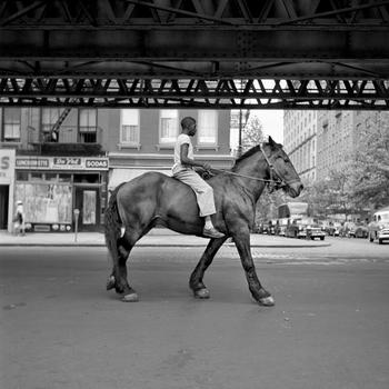 "African American Man on Horse NYC still from John Maloof and Charlie Siskel's ""Finding Vivian Maier."""